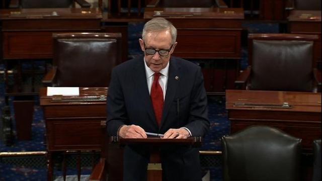 Senate Minority Leader Harry Reid, D-Nev., speaks on the U.S. Senate floor. (CNN)