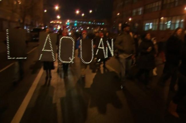 Demonstrators take to the streets in protest after the release of video showing the 2014 shooting death of Laquan McDonald (CNN)
