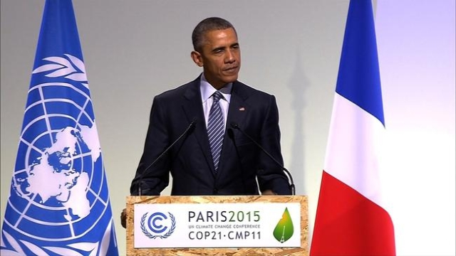 U.S. President Barack Obama speaks at the COP 21 climate change summit in Paris, France. (CNN)