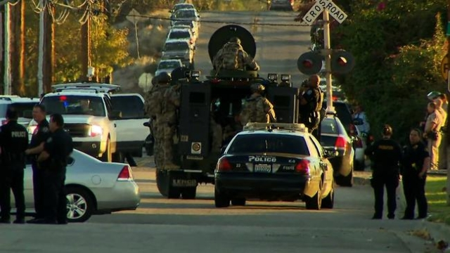 The hunt for one to three suspects is taking place near a San Bernardino, California, center for people with developmental disabilities, where at least 14 people were killed Wednesday, Police Chie ...