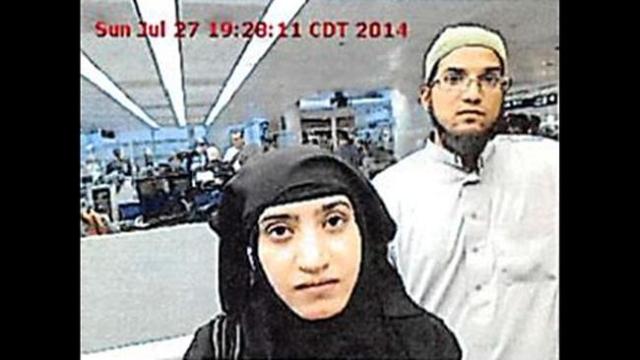 Tashfeen Malik and Syed Rizwan Farook were photographed at O'Hare Airport in 2014. (CNN)