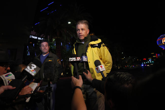 Police Lt. Dan McGrath briefs the media about a crash on the Strip in Las Vegas that left one person dead and 37 injured after a car plowed into a group of pedestrians the evening of Sunday, Dec.  ...