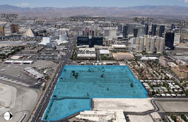 his image looking west along Tropicana Avenue shows the 42 acre site -- highlighted in blue -- that the UNLV Foundation has in mind for a football stadium, or possibly other uses. (Courtesy, Colliers)