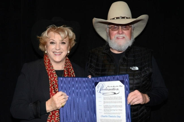 Las Vegas Mayor Carolyn Goodman honored country music superstar Charlie Daniels with a proclamation declaring Thursday as Charlie Daniels Day.  (Courtesy)