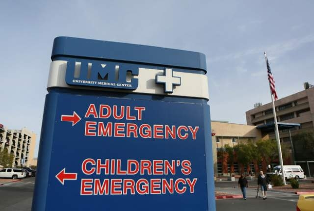 A sign is shown near University Medical Center's emergency department entrance at UMC Wednesday, Jan. 28, 2015, in Las Vegas. (Ronda Churchill/Las Vegas Review-Journal)