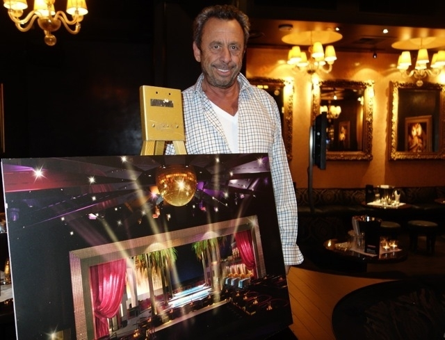 Nightclub mogul Victor Drai, with rendering of Drai's rooftop restaurant and pool venue. (Courtesy)