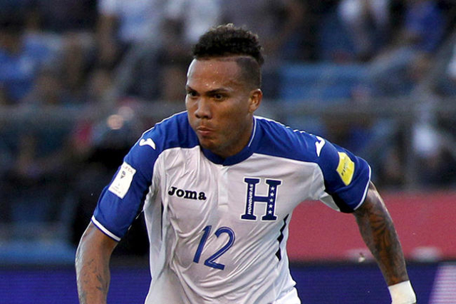 Arnold Peralta of Honduras is seen during their 2018 World Cup qualifying soccer match against Mexico at Olimpico stadium in San Pedro Sula, Honduras, in this November 17, 2015 file photo. Hondura ...