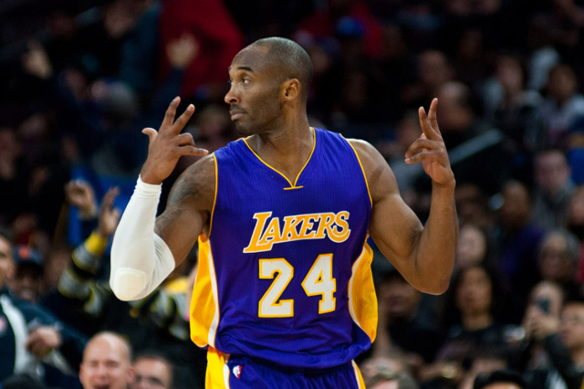 Dec 2, 2014; Auburn Hills, MI, USA; Los Angeles Lakers guard Kobe Bryant (24) celebrates after making a three point basket during the third quarter against the Detroit Pistons at The Palace of Aub ...