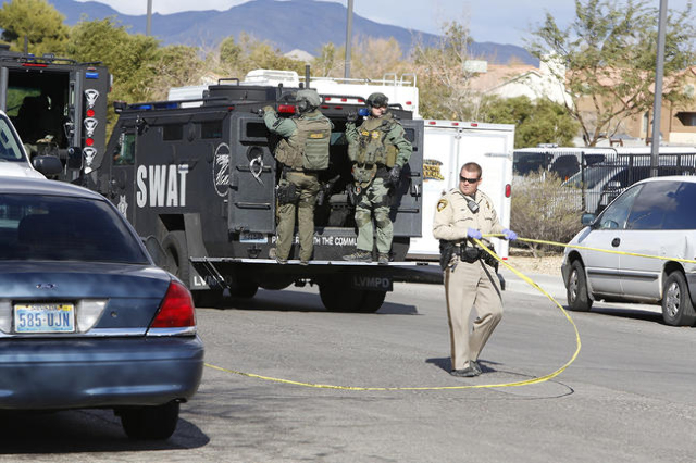 Metro SWAT unit is on scene of a barricade situation near the intersection of Craig Road and Nellis Boulevard. (Bizuayehu Tesfaye/Las Vegas Review-Journal)