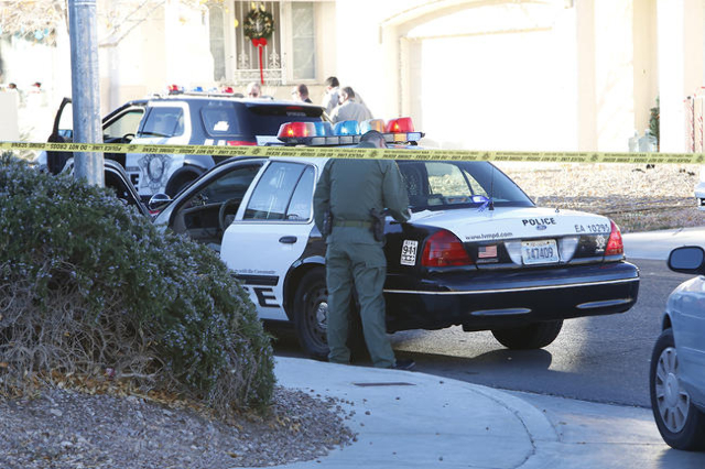 Las Vegas police were involved in a shooting in the western valley Thursday afternoon. (Bizuayehu Tesfaye/Las Vegas Review-Journal)