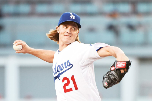 Jul 9, 2015; Los Angeles, CA, USA; Los Angeles Dodgers starting pitcher Zack Greinke (21) works against the Philadelphia Phillies in the second inning at Dodger Stadium. (Richard Mackson-USA TODAY ...