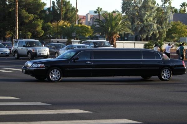 A limousine is seen on Convention Center Drive near the Las Vegas Convention Center on Monday, Aug. 17, 2015. (Erik Verduzco/Las Vegas Review-Journal0