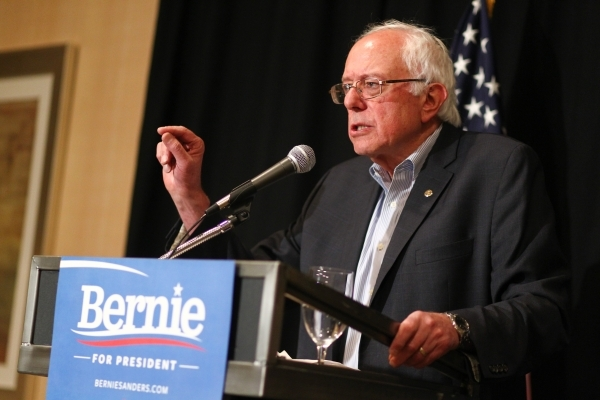 Democratic presidential candidate, Sen. Bernie Sanders, I -Vt., speaks with news media following a speech at an AFL-CIO conference at the Luxor hotel-casino in Las Vegas on Tuesday, Aug. 18, 2015. ...
