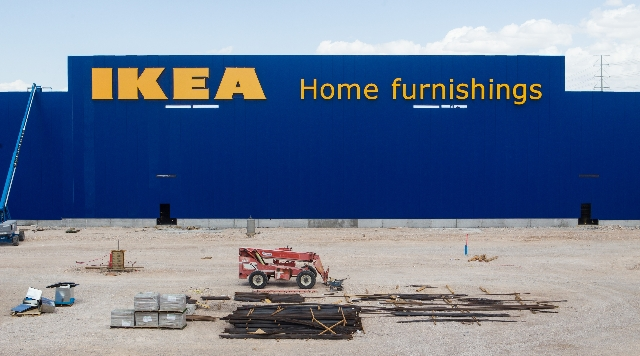 Letters for IKEA, a Sweden-based furniture seller, are shown as the property undergoes construction in Las Vegas on Friday, Sept. 4, 2015.Chase Stevens/Las Vegas Review-Journal Follow @csstevensphoto