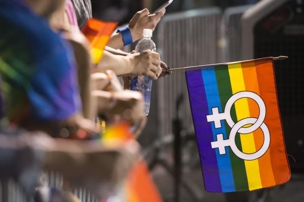 The rainbow flag in downtown Las Vegas Friday, Sept. 18, 2015. Jason Ogulnik/Las Vegas Review-Journal file