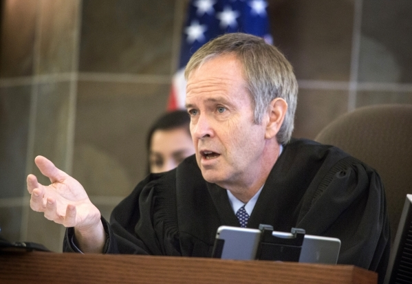 District Judge Eric Johnson speaks during a hearing for Warren McClinton at Regional Justice Center on Wednesday, Sept. 16, 2015. McClinton has been behind bars for six years without being convict ...