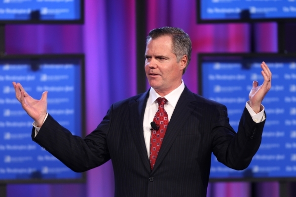 James Murren, chairmen and CEO of MGM Resorts International, welcomes the crowd during the 2016 Pregame event hosted by the Washington post inside the Marquee Ballroom at the MGM Grand in Las Vega ...