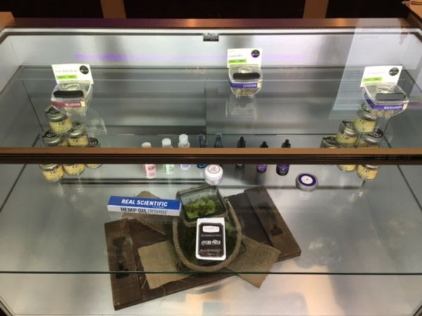 A display case is seen in the medical marijuana dispensary Las Vegas ReLeaf. COURTESY of Jason Sturtsman