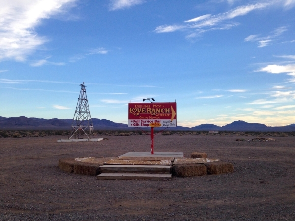 A sign at Dennis Hof's Love Ranch brothel in Crystal, Nevada near Pahrump where former NBA standout Lamar Odom was found unconscious, is shown Wednesday, Oct. 14, 2015. Kimberly De La Cruz/L ...