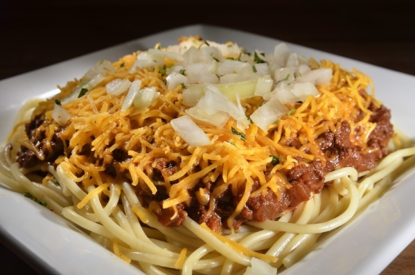 The Cincinnati 4-Way, a dish made with noodles, chili, cheese and onions, is shown at the Pete Rose Bar and Grill at 3743 Las Vegas Blvd. South on Thursday, Oct. 15, 2015. Bill Hughes/Las Vegas Re ...