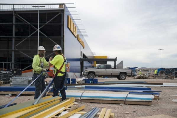 Workers sort through items to be used during construction at the IKEA site in southwest Las Vegas on Wednesday, Oct. 28, 2015. Daniel Clark/Las Vegas Review-Journal