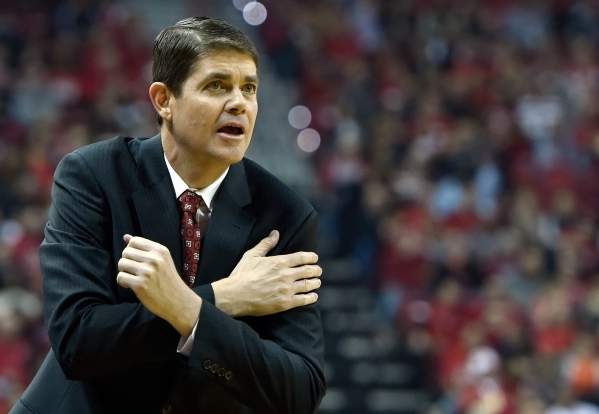 UNLV head coach Dave Rice calls to his team during a NCAA basketball game against Cal Poly at the Thomas & Mack Center in Las Vegas Friday, Nov. 13, 2015. David Becker/Las Vegas Review-Journal