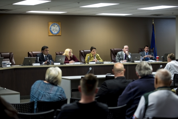 Board members of the Nevada Taxicab Authority listen during the public comment section of the Nevada Taxicab Authority meeting at their office in Las Vegas on Thursday, Nov. 19, 2015. Joshua Dahl/ ...