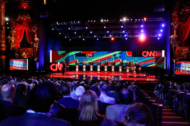 The CNN Republican presidential debate goes on at the Venetian hotel-casino in Las Vegas on Tuesday, Dec. 15, 2015. Chase Stevens/Las Vegas Review-Journal Follow @csstevensphoto