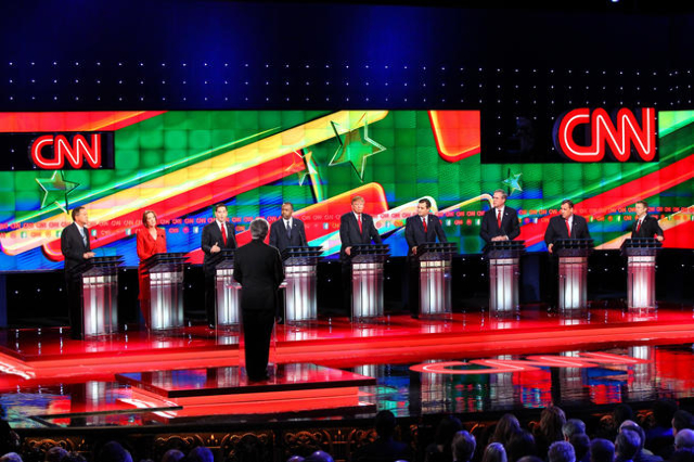 Republican presidential candidates respond to questions during the CNN Republican presidential debate at the Venetian hotel-casino in Las Vegas on Tuesday, Dec. 15, 2015. Chase Stevens/Las Vegas R ...