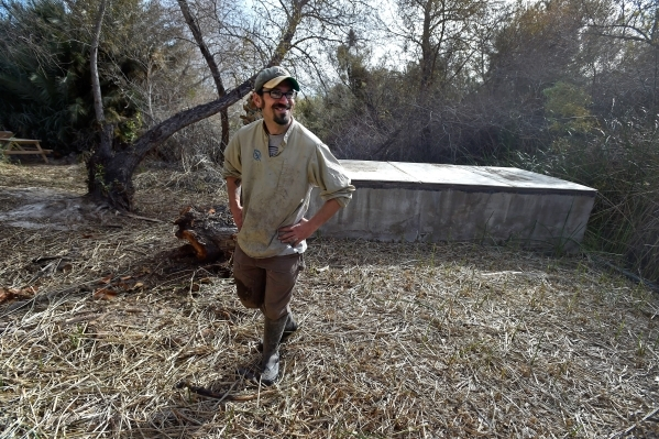 Amargosa Conservancy executive director Patrick Donnelly tours the Shoshone Spring, the site of a habitat restoration project that will support the now endangered Amargosa vole in Shoshone, Calif. ...