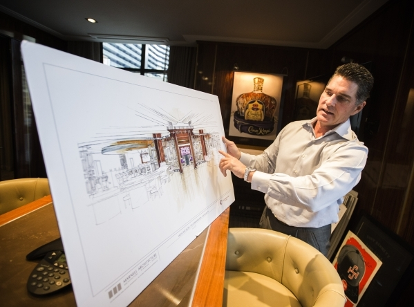Cosmopolitan of Las Vegas president and CEO Bill McBeath, show artist renderings of current remodels at the property on Thursday, Dec. 10, 2015. (Jeff Scheid/Las Vegas Review-Journal Follow him @j ...
