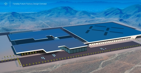 The Faraday electric car plant is shown in a rendering made available Thursday, Dec. 10, 2015. Nevada Gov. Brian Sandoval announced details of a deal Thursday that will bring a $1 billion electric ...