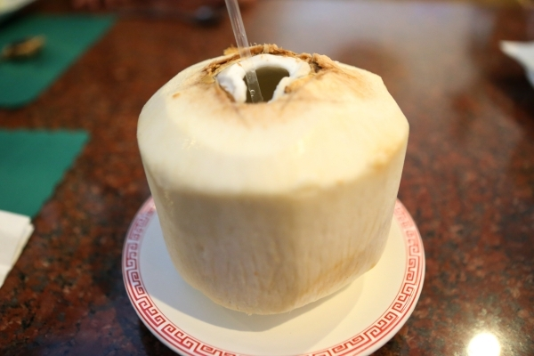 A whole young coconut is seen served at Veggie House, 5115 Spring Mountain Road, No. 203, in Las Vegas on Sunday Dec. 13, 2015. Erik Verduzco/Las Vegas Review-Journal Follow @Erik_Verduzco