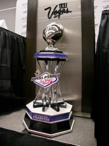 The trophy for the Royal Purple Las Vegas Bowl is seen during a press conference for the inside the Las Vegas Convention Center in Las Vegas on Friday, Dec. 18, 2015. (Daniel Clark/Las Vegas Revie ...