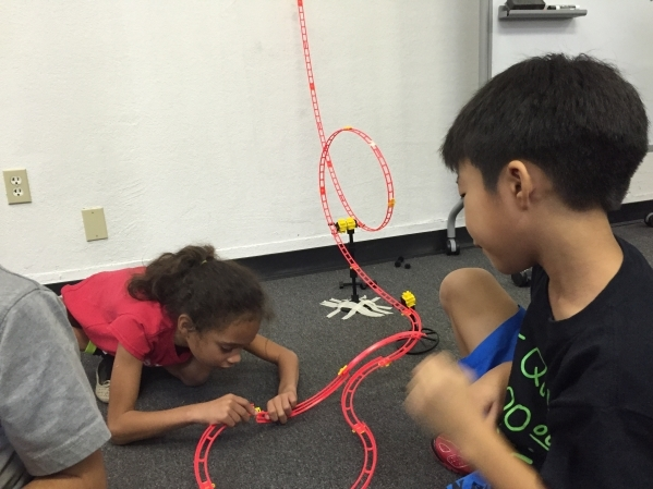 Students from the Las Vegas chapter of Engineering for Kids are shown working on a project. The organization is partnering with the College of Southern Nevada to attract younger students to the sc ...