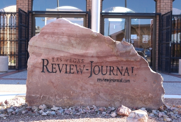 The sign is seen at the front of the Review-Journal building on Wednesday Dec. 16, 2015 in Las Vegas. Bizuayehu Tesfaye/Las Vegas Review-Journal Follow @bizutesfaye