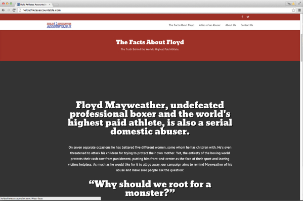 "Screenshot from the website for the group Hold Athletes Accountable, which protested the May 2015 Floyd Mayweather Jr. fight, which was billed as the ""fight of the century."""