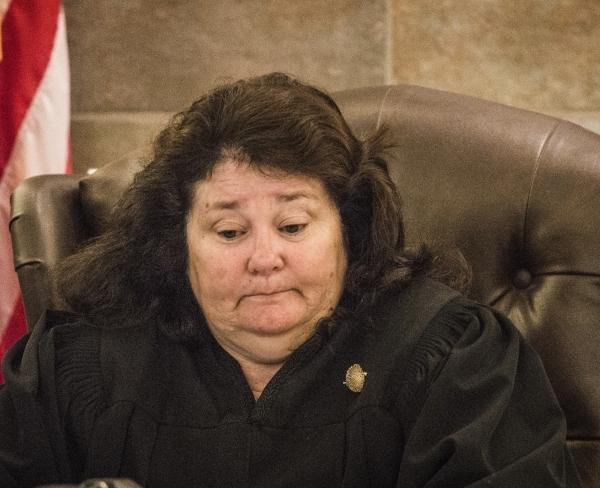 District Judge Elizabeth Gonzalez sits while Las Vegas Sands Corp. Chairman and CEO Sheldon Adelson,  testifies at Clark County Justice Center on Tuesday, April 28,2015.    (Jeff Scheid/Las Vegas  ...