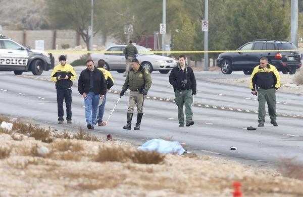 Metro is investigating a fatal hit-and-run crash on Jones Boulevard near Patrick Lane on Monday, Dec. 21, 2015. (Bizuayehu Tesfaye/Las Vegas Review-Journal Follow @bizutesfaye)