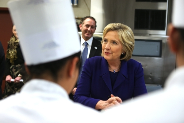 Democratic presidential candidate Hillary Clinton speaks with students during a tour of the Culinary Academy of Las Vegas Wednesday, Jan. 6, 2016, in North Las Vegas. Erik Verduzco/Las Vegas Revie ...