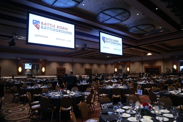 The scene before the start of the program for the Battle Born/Battleground First in the West Caucus Dinner at the MGM Grand Conference Center on Wednesday, Jan. 6, 2016, in Las Vegas. Erik Verduzc ...