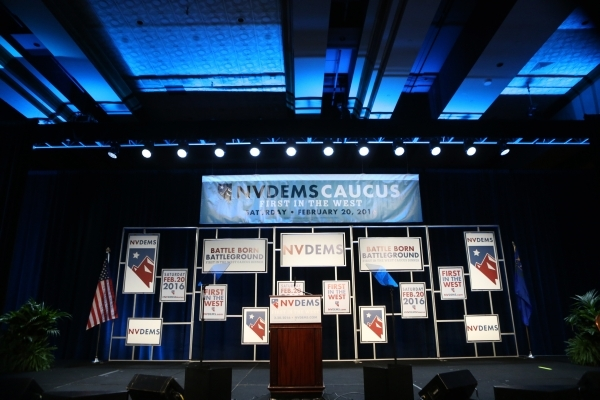 The stage is seen before the start of the program for the Battle Born/Battleground First in the West Caucus Dinner at the MGM Grand Conference Center on Wednesday, Jan. 6, 2016, in Las Vegas. Erik ...