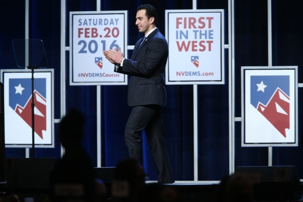 Nevada Sen. Ruben Kihuen, D-Las Vegas, takes the stage for a speech during the Battle Born/Battleground First in the West Caucus Dinner at the MGM Grand Conference Center on Wednesday, Jan. 6, 201 ...