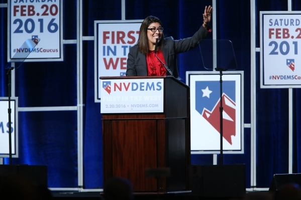 Former Assemblywoman Lucy Flores speaks during the Battle Born/Battleground First in the West Caucus Dinner at the MGM Grand Conference Center on Wednesday, Jan. 6, 2016, in Las Vegas. Erik Verduz ...