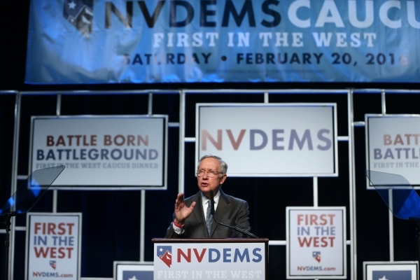 U.S. Sen. Harry Reid speaks during the Battle Born/Battleground First in the West Caucus Dinner at the MGM Grand Conference Center on Wednesday, Jan. 6, 2016, in Las Vegas. Erik Verduzco/Las Vegas ...