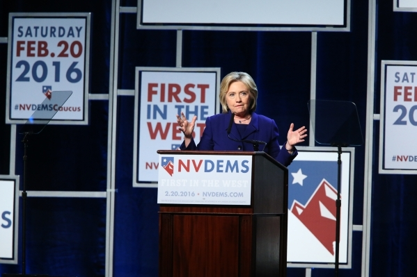 Democratic presidential candidate Hillary Clinton speaks during the Battle Born/Battleground First in the West Caucus Dinner at the MGM Grand Conference Center on Wednesday, Jan. 6, 2016, in Las V ...