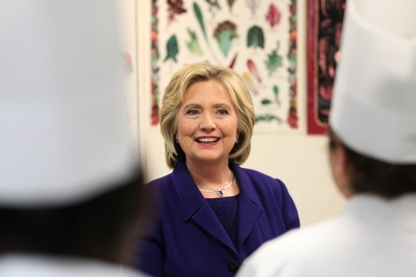 Democratic presidential candidate Hillary Clinton tours the Culinary Academy of Las Vegas Wednesday, Jan. 6, 2016, in North Las Vegas. Erik Verduzco/Las Vegas Review-Journal Follow @Erik_Verduzco