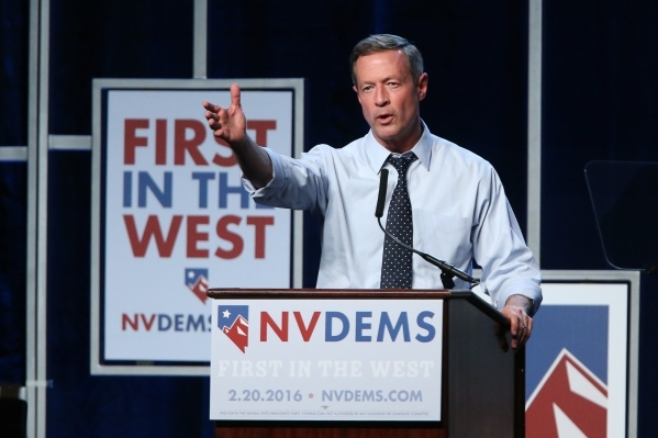 Democratic presidential candidate Martin O'Malley speaks during the Battle Born/Battleground First in the West Caucus Dinner at the MGM Grand Conference Center on Wednesday, Jan. 6, 2016, in ...