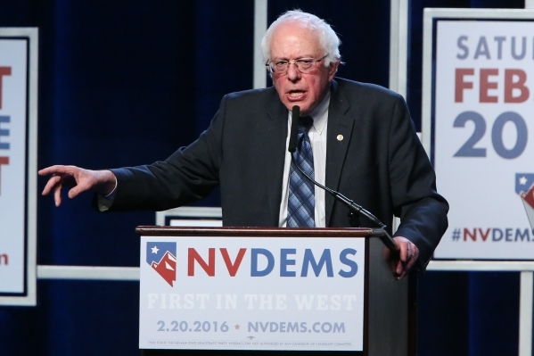 Democratic presidential candidate Bernie Sanders speaks during the Battle Born/Battleground First in the West Caucus Dinner at the MGM Grand Conference Center on Wednesday, Jan. 6, 2016, in Las Ve ...