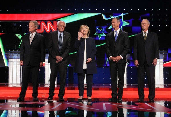 Democratic presidential candidates, from left, Jim Webb, Bernie Sanders, Hillary Clinton, Martin O'Malley and Lincoln Chafee pose before the CNN Democratic presidential debate at the Wynn ho ...